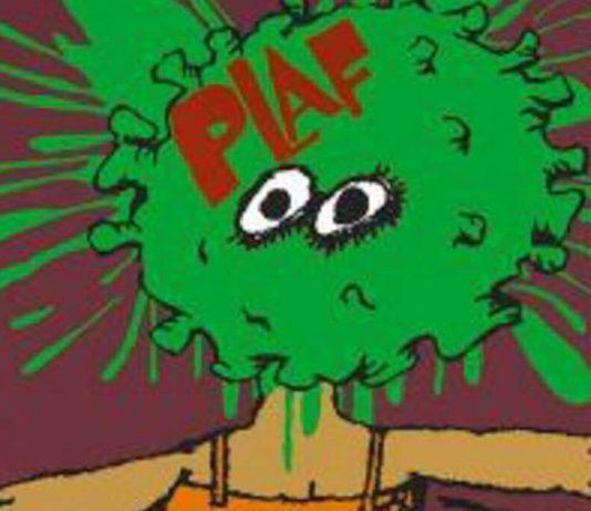 Detalle del cartel 'Plaf', de Annick Woungly (2020), a partir del original de Eduardo Muñoz Bachs (1989)