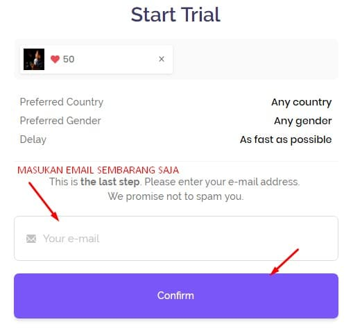 enter email for verifikasi