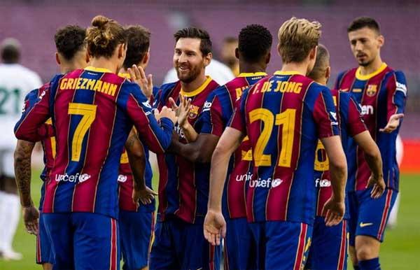 Selebrasi para pemain Barcelona