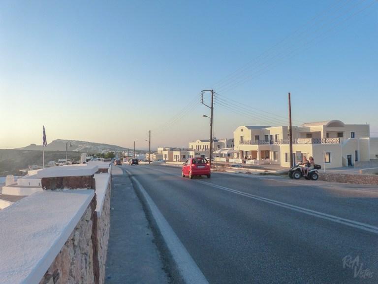 On the road in Santorini