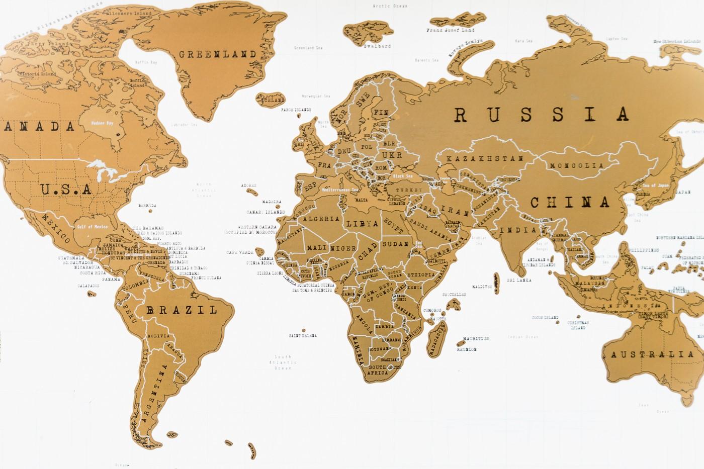 World map - gold