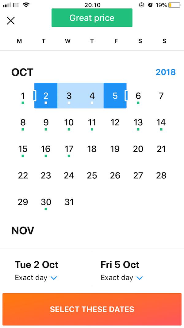 Kayak - best dates