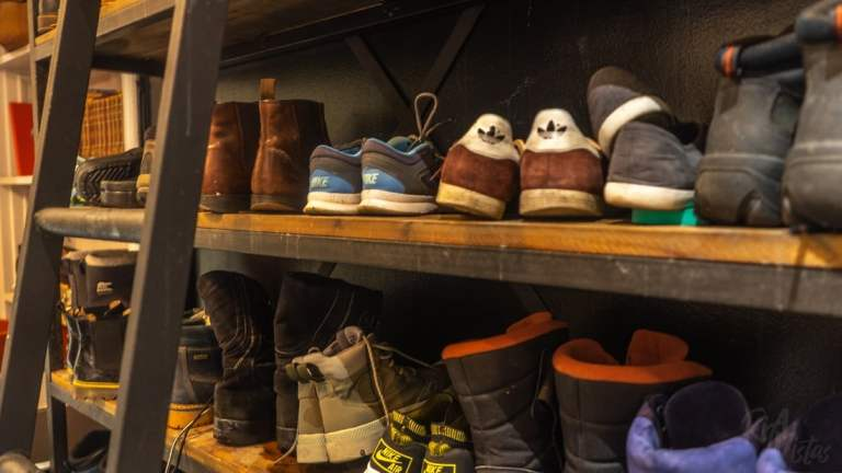 Shoe rack at City Backpackers Hostel- Stockholm