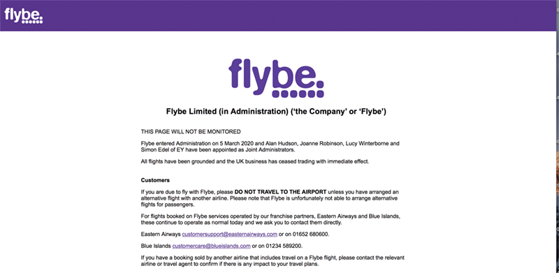 Coronavirus proves to much for FlyBe - airline goes into administration