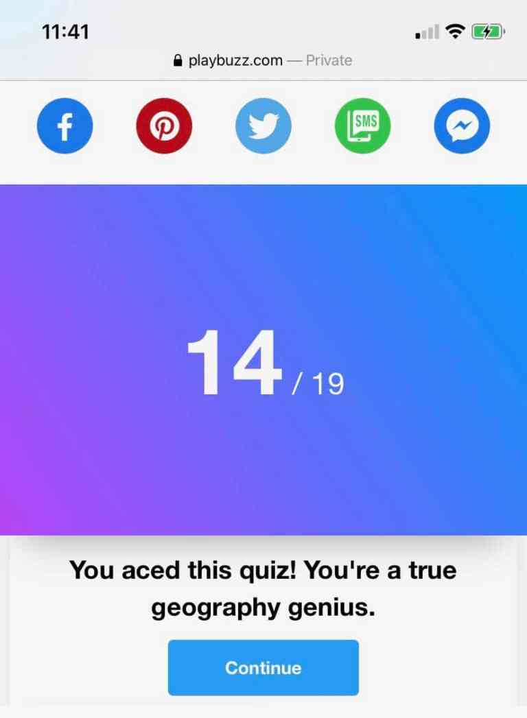 PlayBuzz travel quiz