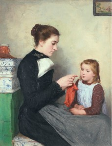 Albert_Anker_-_Strickende_Bernerin_mit_Kind