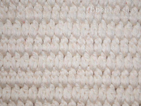 Muster häkeln - Gliederstich häkeln - tiefere ganze Stäbchen in Reihen