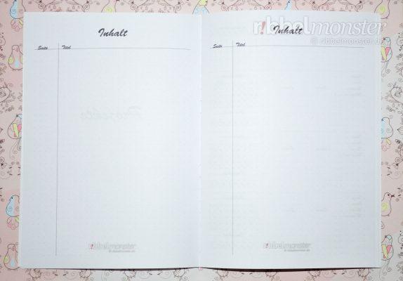 Druckvorlage - DIY Projektbuch basteln - dotted A5 - Inhaltsverzeichnis