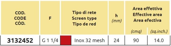 Tabella FILTRO ASPIR 3132452 ARAG