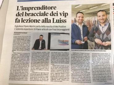 Articolo de Il Centro - Flavio Marini, socio del Ricamificio Marini, racconta alla LUISS la storia della propria azienda e la nascita di We Positive