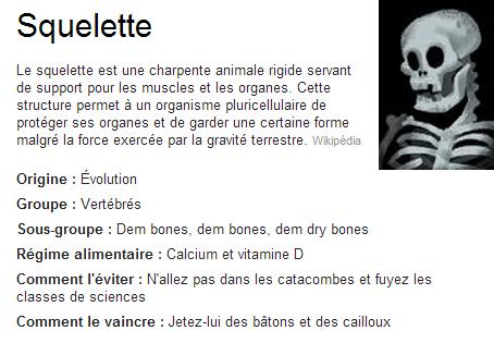 Définitions funs à Halloween - squelette