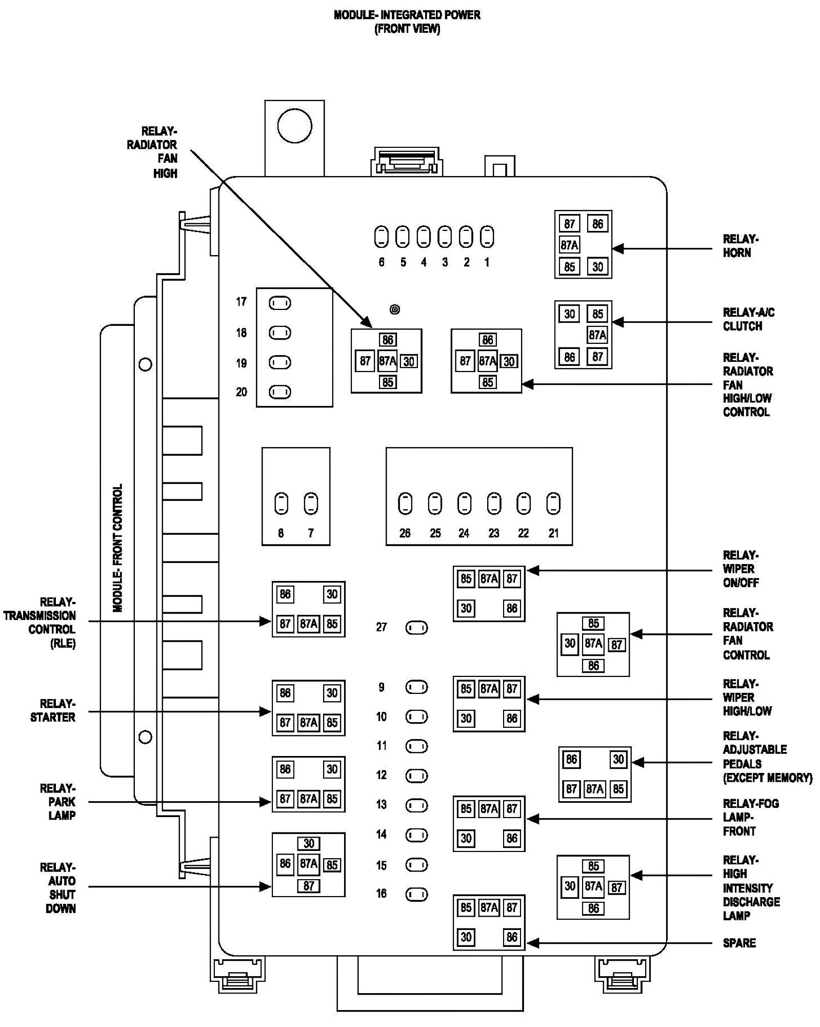 2001 Chrysler Sebring Fuse Diagram