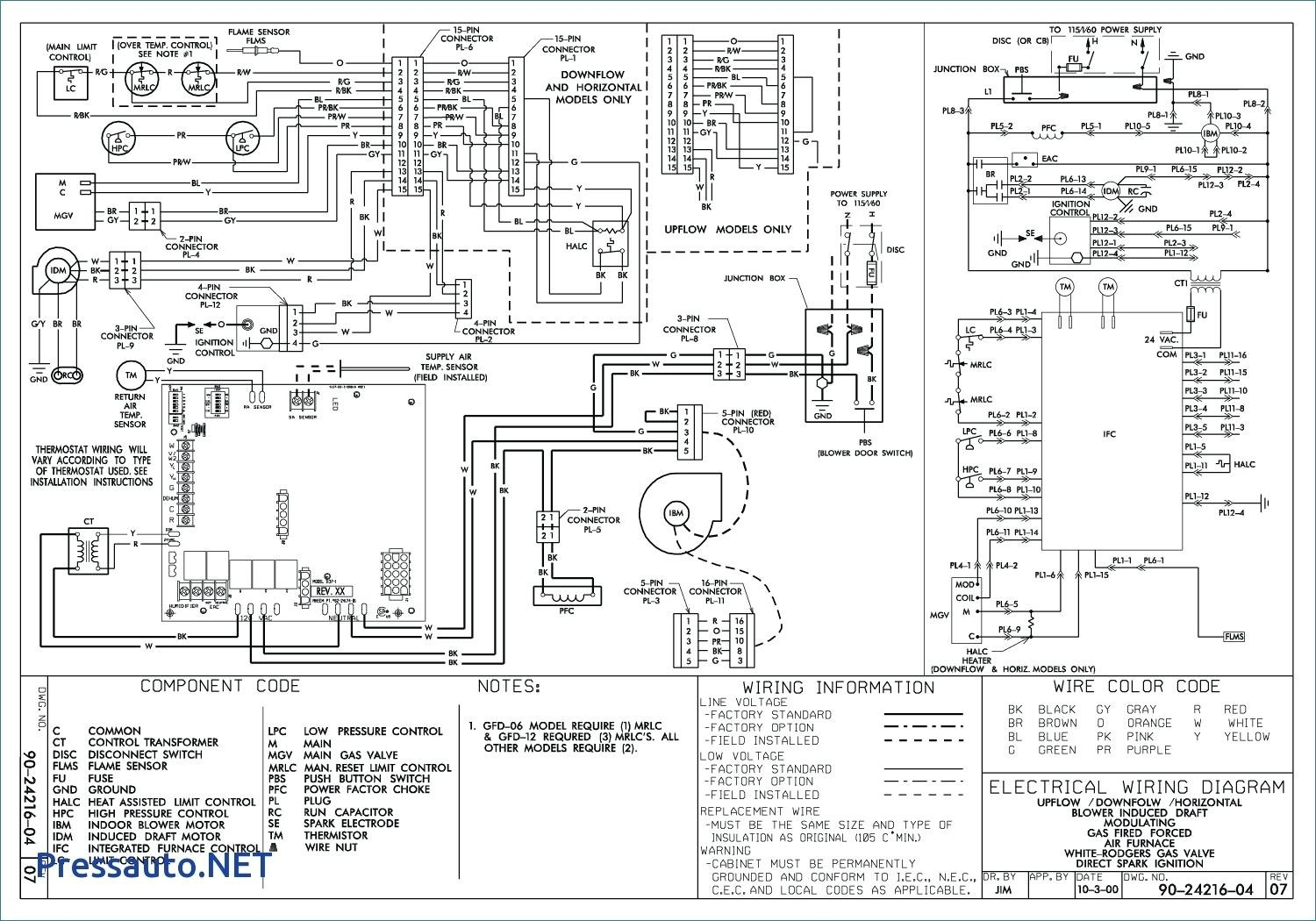 Standing Pilot Gas Furnace Wiring Diagram Schematic