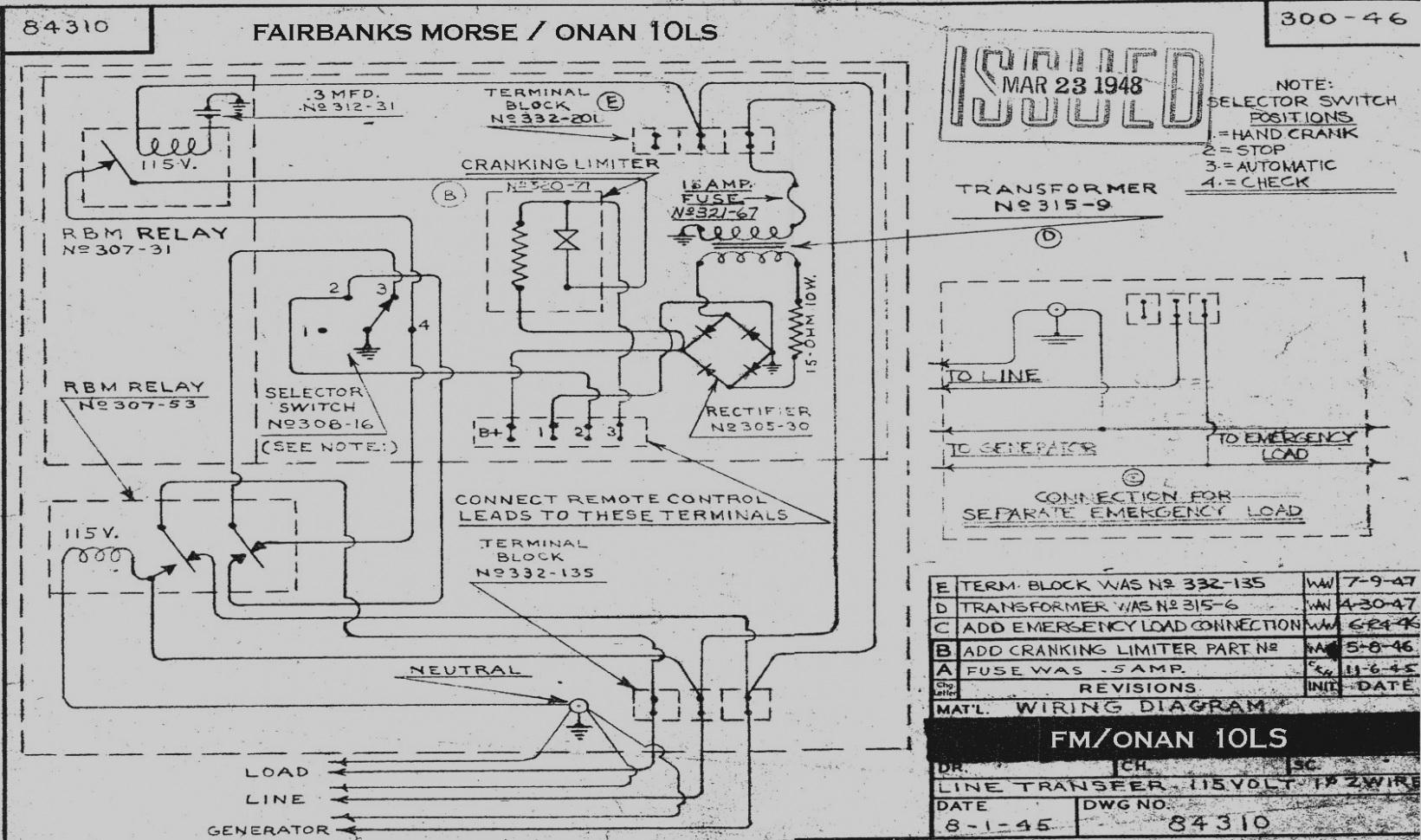 Onan Emerald 1 Genset Wiring Diagram
