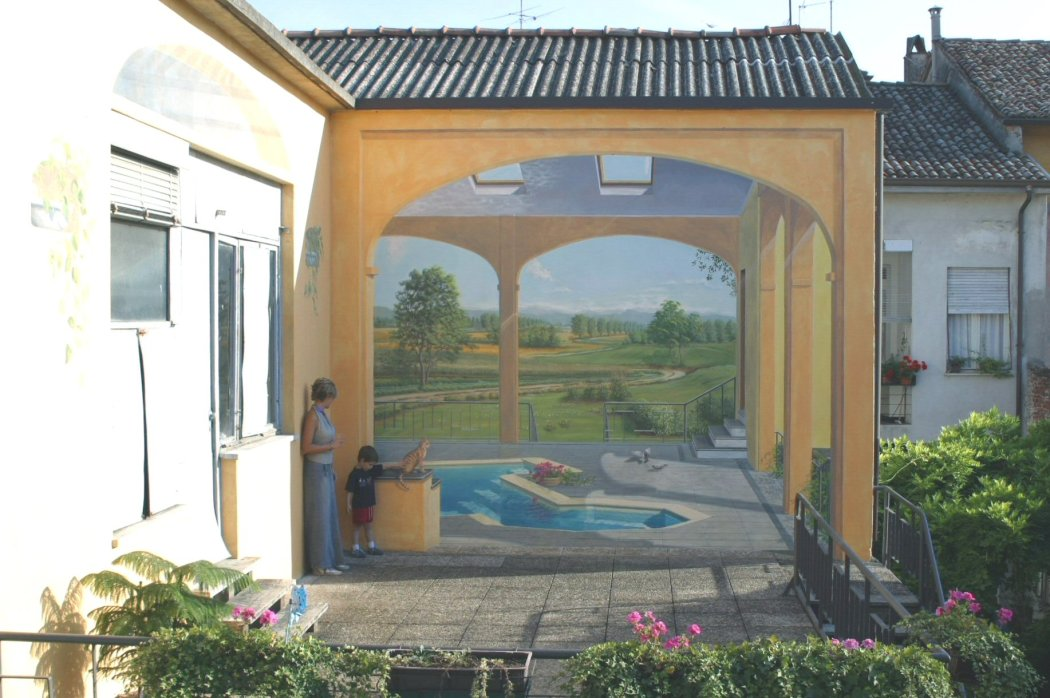 terrazza con paesaggio a casa di Gabriella, Pizzighettone - visione d'insieme - circa 5x4 m