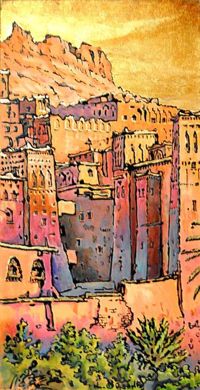 casbah cielo oro - 30x60 - acrylic and glaze on canvas - 2011