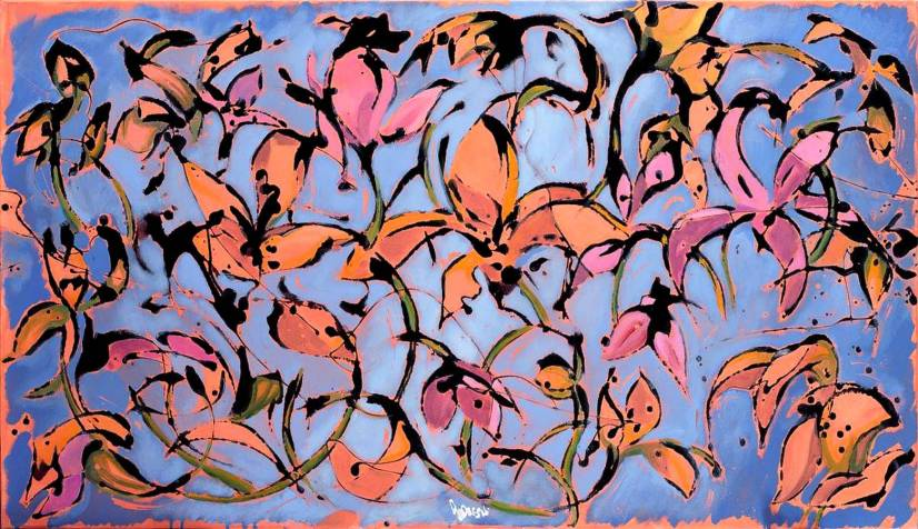 floating Lilium - 120x70 - acrylic and glaze on canvas - 2009