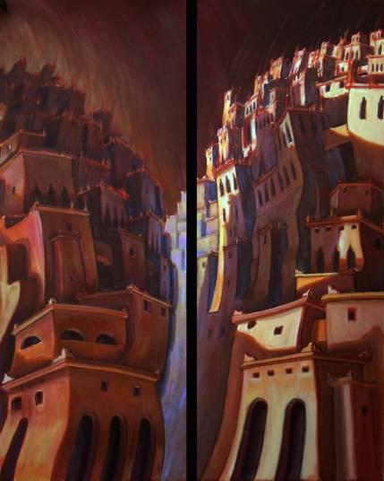 citta candela - (30x80)x2 -oil on canvas - 2012