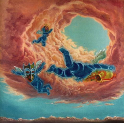 il gioco degli angeli - 60x60 - oil on canvas - 2004