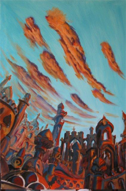 tramonto in medioriente - 90x140 - acrylic on canvas - 2004