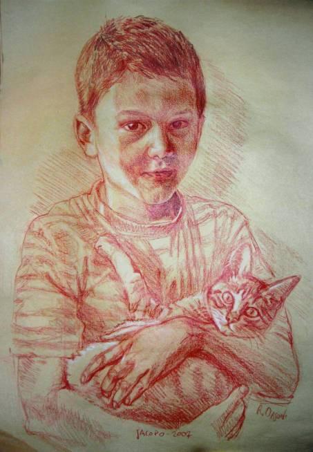 Jacopo - 25x35 - sanguine on paper - 2007