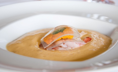 Hawaiian 'Oursinade' sea urchin rice soup with Kauai shrimp