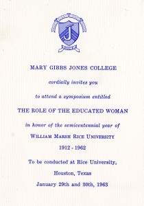 Women's symposium invitation 1963
