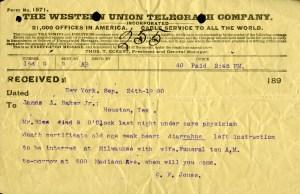 Rice Death telegram 1900