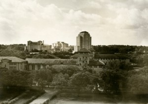 View over dorms towards Hermann Hosp and Professional Building 1950