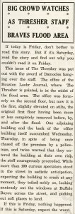 December 1935 flood Thresher troubles