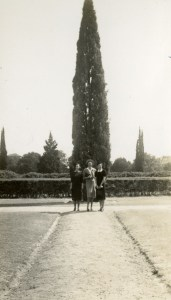 Ray Watkin and friends 1938 gravel path