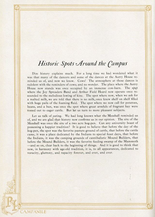 1923 Campanile Historic Spots