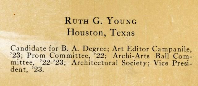 1923 Campanile Ruth Young bio