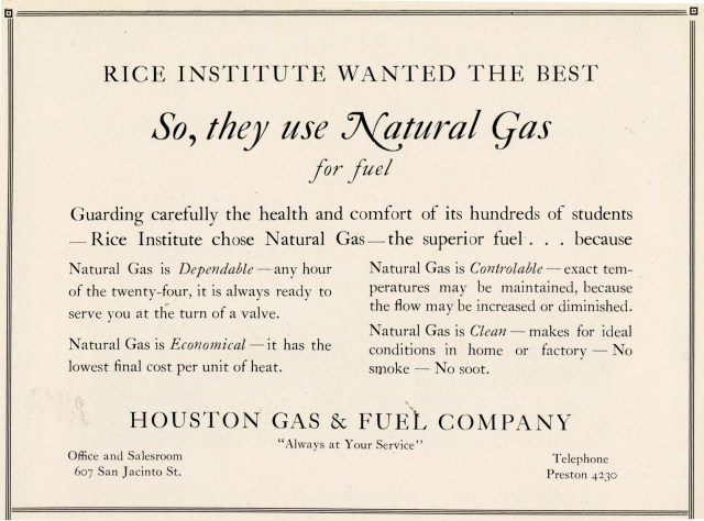 Natural gas ad 1927 Campanile
