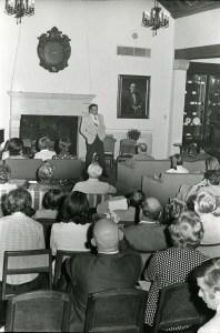 Hackerman speaking in Cohen House