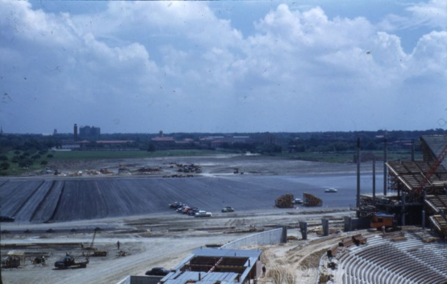 New Morehead slide stadium construction pavement 1950