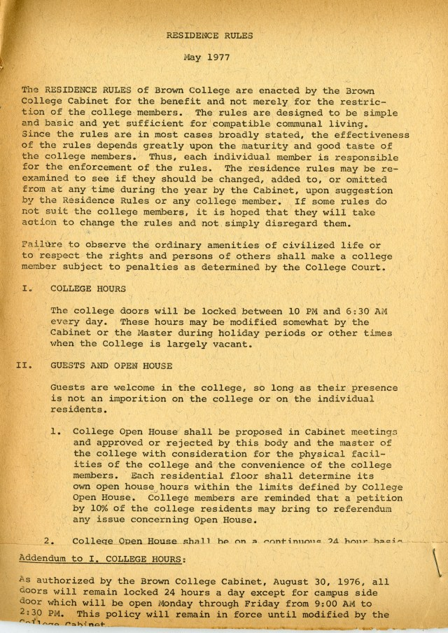 New Brown residence rules 1977 1