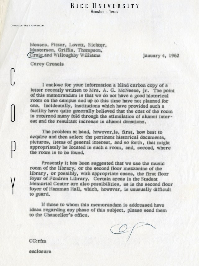 Archives 1962 Croneis memo