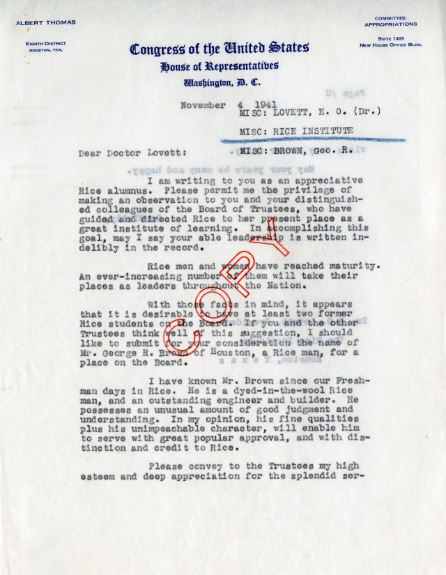 Thomas letter George Brown 1943
