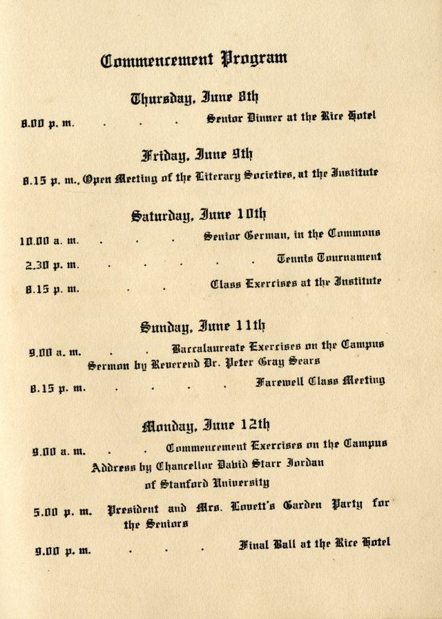 First commencement program of events 056