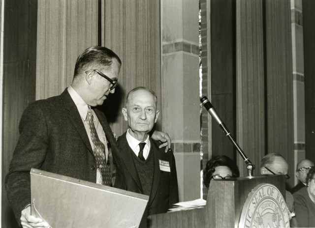 New Verne Simons receiving award Homecoming 1969