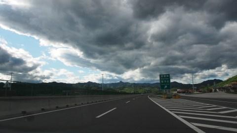 Dark clouds, but not one drop of rain.
