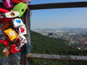 Thousands of locks line the handrails of the Korea Tower viweing platform.