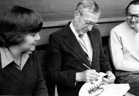 Left to Right: John Wooden and Dr. David Rice (Photo Credits: University Archives & Special Collections - UP 12088)