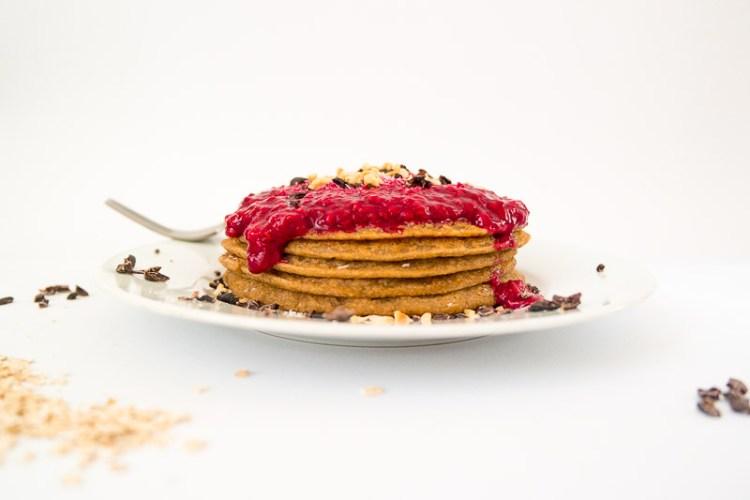 Ricemilkmaid Blog: Vegane Haferflocken Pancakes mit Himbeersauce
