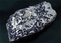 Benitoite cyclosilicate 1 - Veevaert Collecton at Rice Northwest Rock and Mineral Museum
