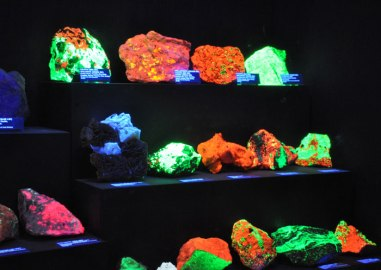 Fluorescent Rocks Exhibit on exhibit at the Rice Northwest Museum of Rocks and Minerals.