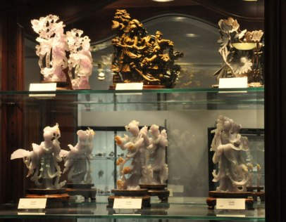 Lapidary stone carvings on exhibit at the Rice Northwest Museum of Rocks and Minerals.