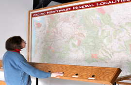 Viewing the Map of Rock and Mineral locations in the Pacific Northwest at the Rice NW Museum of Rocks and Minerals - circa 1970s.