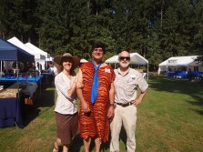 Rice Rock and Mineral Museum Executive Director Julian Gray and Curator Leslie Moclock with Fred Flintstone